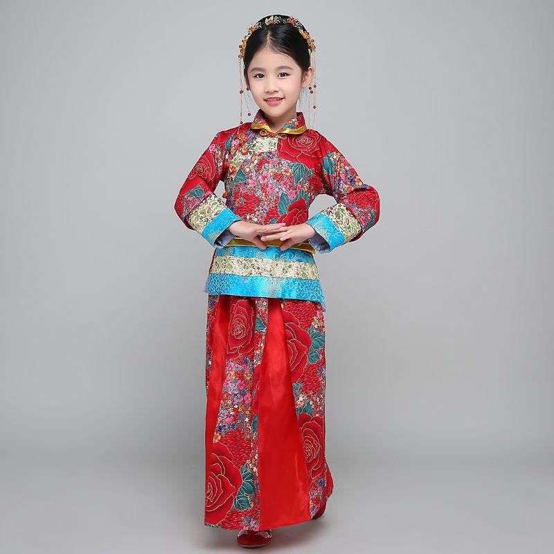 Chinese Folk Dance Costume Hanfu Suit Tang Dynasty National Fairy Dress Children Ancient Vintage Xiuhe Bride Wedding Dress