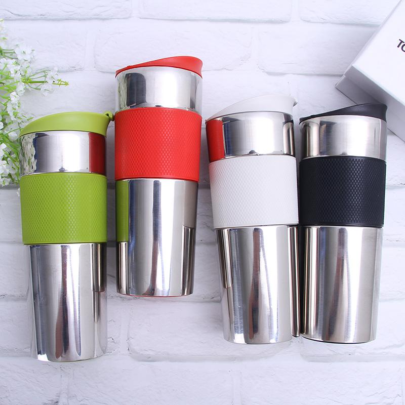 En acier inoxydable Gardez les biberons au chaud Gym vert Prevent Slip bouteille d'eau en poudre Albumine Shaker Hot Cup vente 26zj L1