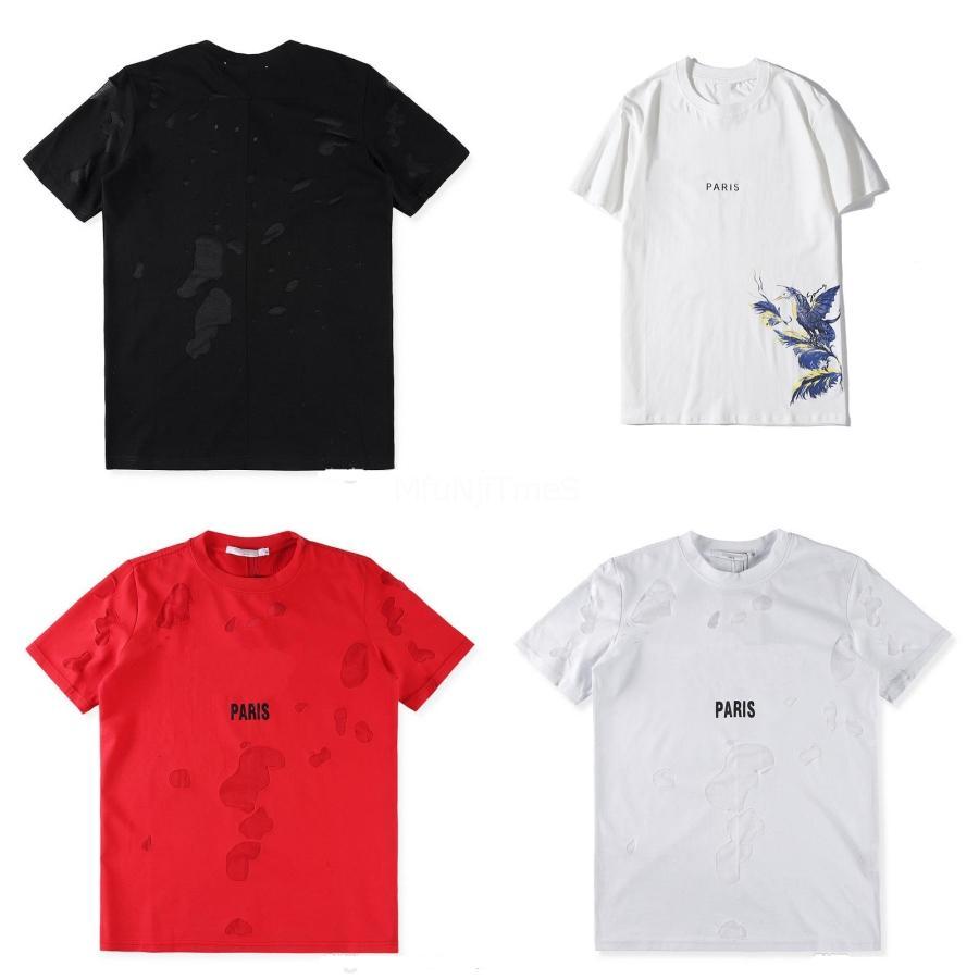 Heißen Verkauf Sommer 2020 kurzärmelige T-Shirt Kreative Flash-Brief-Druck-T-Shirt Curve Hem Männer lange Spitzen für Sommer-Schwarz-Weiß Col # QA578