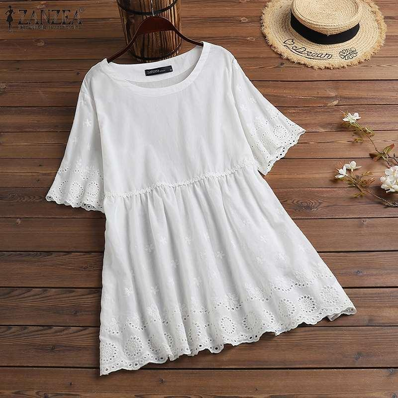 Women Summer Blouse ZANZEA Cotton Crewneck Short Sleeve Lace Tunic Embroidery Casual Holiday Solid Color Tee Shirt Top Plus Size