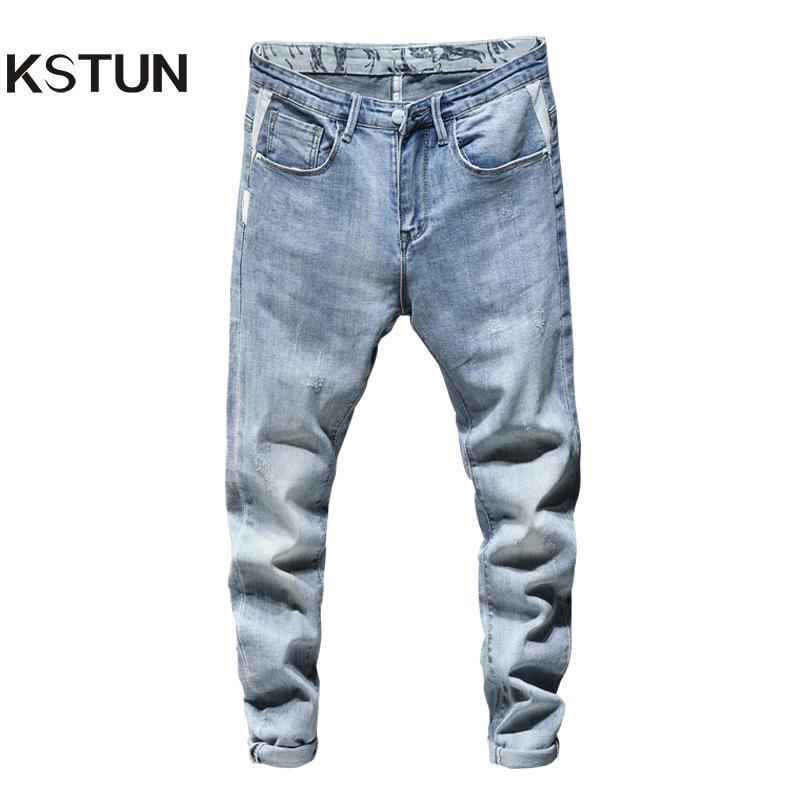 Skinny Jeans Men Light Blue estiramento 2020 Spring Fashion Streetwear Casual Denim Calças Jeans Roupas masculinas calças compridas Cowboys