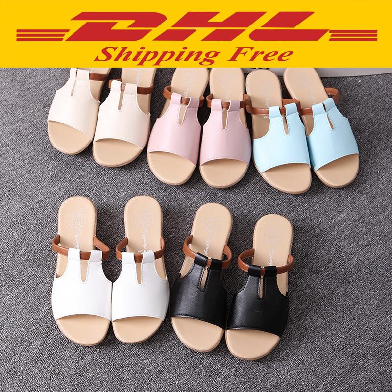 Quality Fashion Ladies Women Girls Beach Summer Slippers Wedge Sandals Low Heel Flip Flops Platform Shoes 5 Colors Optional