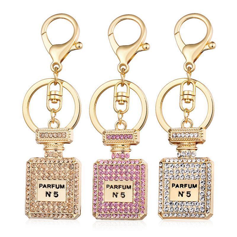 أزياء العطور زجاجة سحر الملحقات حلقة مفتاح 3 ألوان حجر الراين كريستال عطر زجاجة سلسلة المفاتيح هدية كيرينغ الحلي