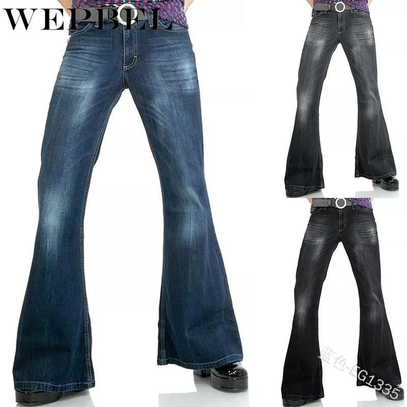 Sólido de color cintura alta pantalones vaqueros ocasionales blanqueado de la vendimia Denim Pantalones acampanados Moda WEPBEL vaqueros de las mujeres