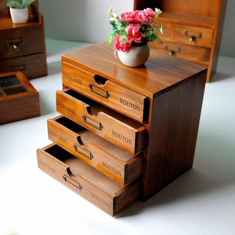 Retro Wooden Storage Box Racks Wood Boxes For Jewelry Container Organizer Wooden Racks Shelf with Drawers Z2BS#