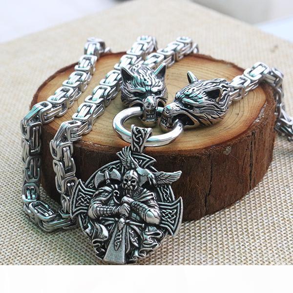 Collier acier inoxydable hommes viking loup tête avec Odin par Helena Rosová Collier pendan Norse talisman de bijoux ethniques