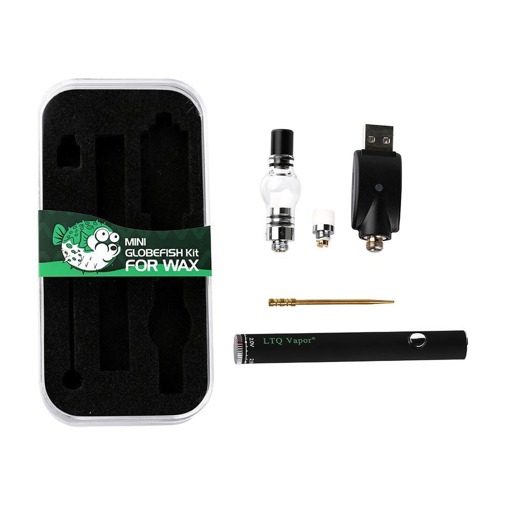 LTQ Vapor Mini Globefish kit Wax Atomizador Ceramic bobina 510 e cigarro com mods vape 510 bateria ajustável bobina de substituição carregador USB