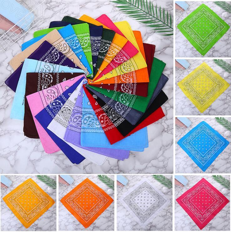 Os mais recentes Hip-hop Cotton Blended Qualidade Bandanas Para Homens Mulheres Magia Lenço Lenços Pulseira Kerchief quadrados 55cm * 55cm 22 cores