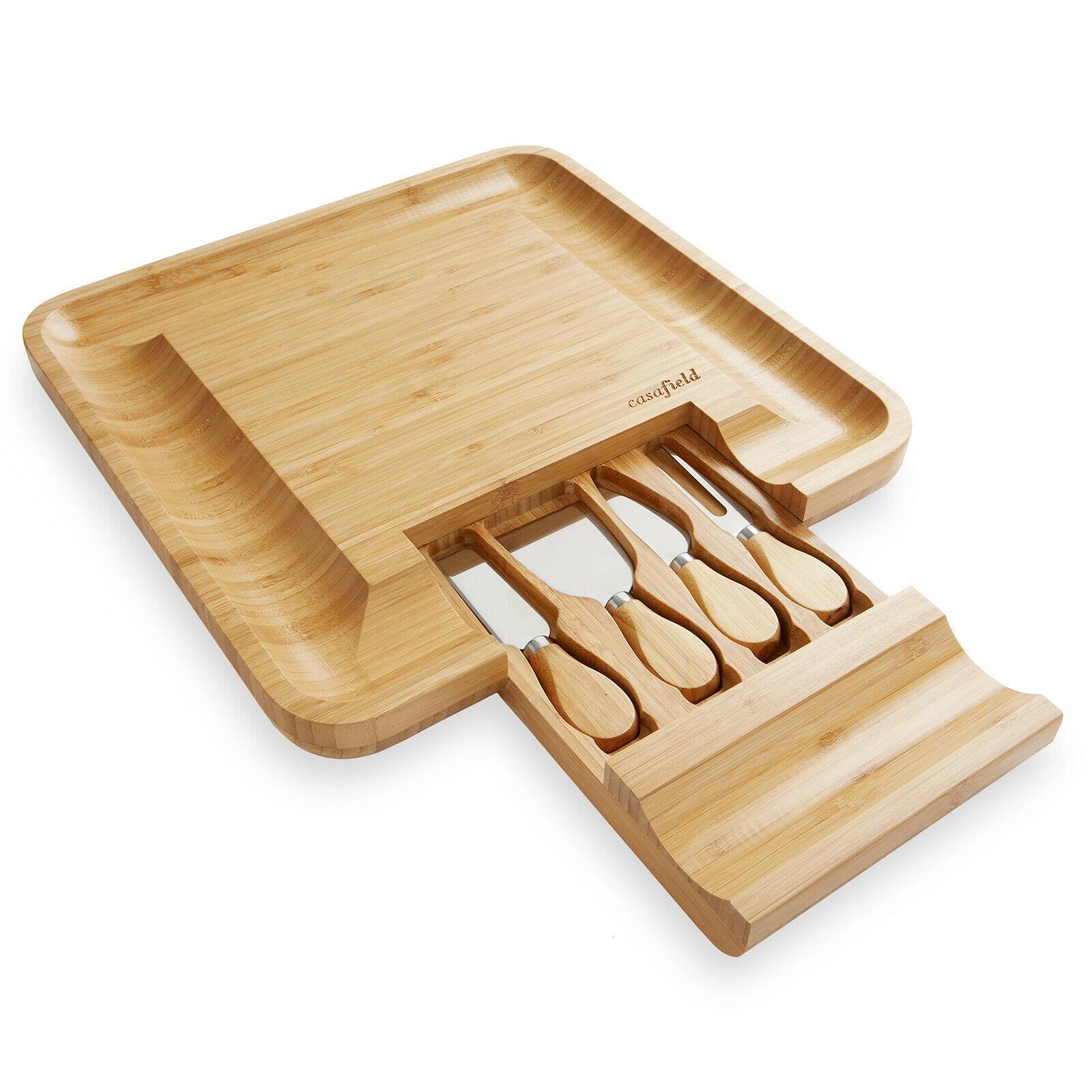 Hizmet Tepsi Kurulu Bıçak Hediye Seti Ahşap Şarküteri Et Kesme Bambu Peynir