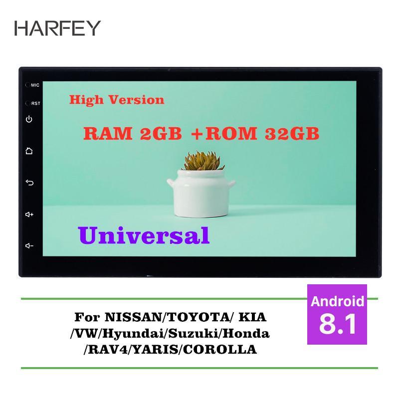 Harfey Android 8.1 7inch RAM 2GB+ ROM 32GB GPS Multimedia Unit Player For VW Nissan Kia bluetooth radio 2Din Universal Car Radio