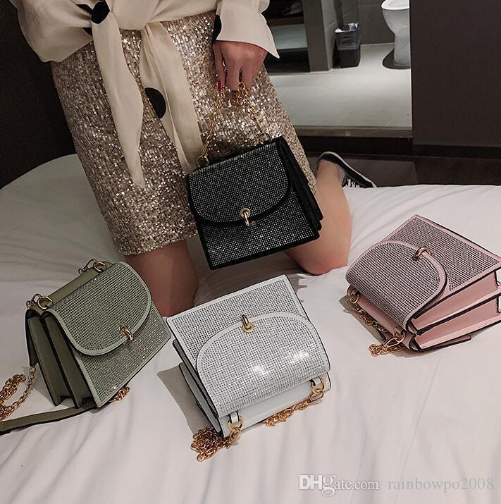 wholesale women handbag double-sided flip rivet chain bag street trend shaping leather messenger bag multifunctional diamond fashion bag