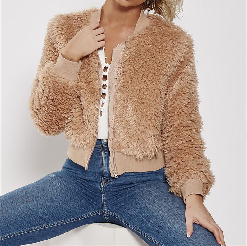 Veste en peluche Mode lambrissé couleur naturelle veste décontractée à manches longues col V hiver JacketWomen Vêtements de créateurs