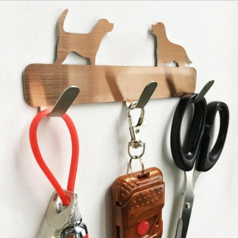 Cane a casa a forma di ganci di vestiti Porta Rustico tasto Home Cappello Appendiabiti da parete della cucina in acciaio inossidabile Bagno Decor Hanging 3 KfSR #