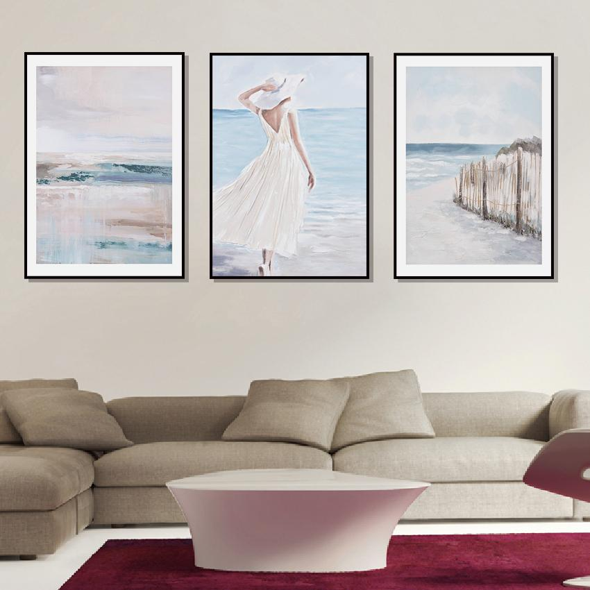 Vintage Oil Pintura Impresión en lienzo Sea Abstract Girl rústico cartel cuadro de la pared de la habitación Linving Decoración Dropshopping