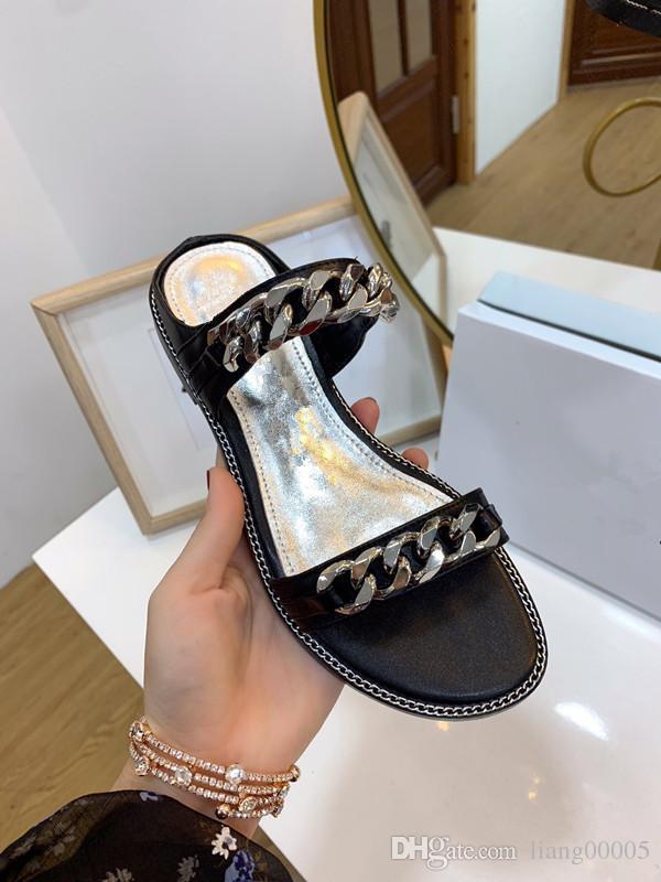 Doğru Çiçek Kutusu Toz Torbası Tasarımcı Slayt Yaz Moda Geniş Düz Sandalet Terlik Orijinal kutusu hs190703 ile 2019 Üst Harf Kadınlar Sandalet