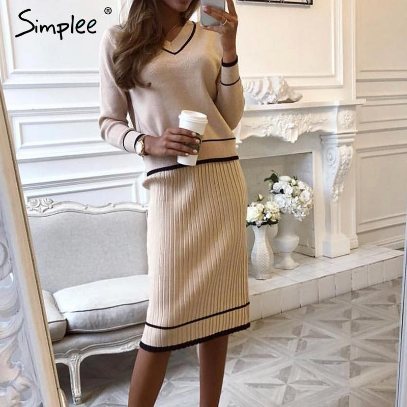 Simplee Şık iki parçalı kadın örme elbise V boyun kadın sonbahar kazak elbiseler Gevşek ofis bayanlar kış vestidos pilili