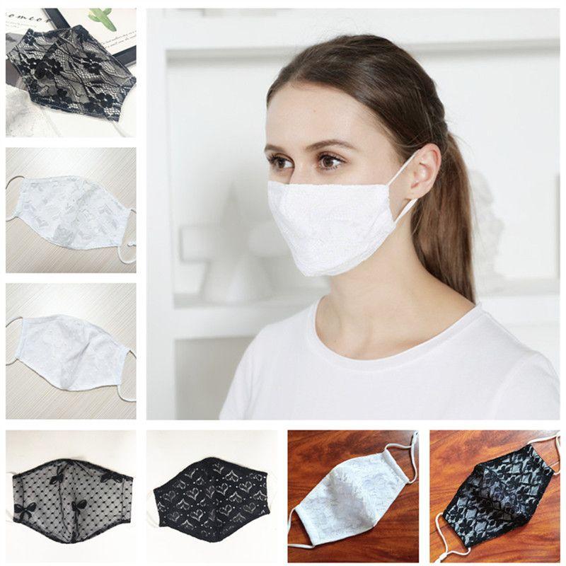 Art und Weise Frauen-Gesichtsmaske Sommer-Spitze-Verzierung doppelte Schicht-Schutzabdeckungen Staubdichtes Baumwolle Masken Im Freien Breath Masken 8 Farben