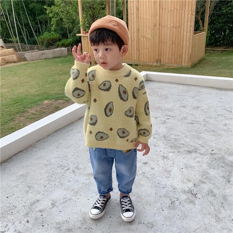 Sonbahar Kış Çocuk kazak Sonbahar ve kış giysileri Çocuk gömlek kalınlaşmış vizon kadife erkek ve kız bebek kazak