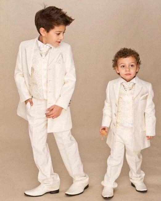 Ivory 4 piece Suit Boy Wedding Suits Boy Tuxedo (Jacket+Pants+Vest+tie) Boys Dress Suit Boy's Formal Wear 5Yoq#