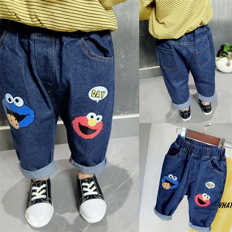 Активность мальчиков и девочек джинсы осень ребенка 2020 детские брюки Корейский мультфильм большой PP джинсы и jeanschildren Штаны jeanspants