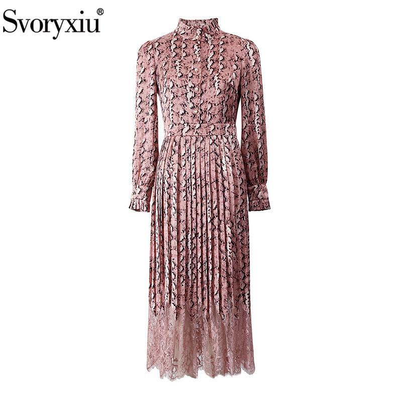 Svoryxiu Tasarımcı Vintage İlkbahar Yaz Pileli Uzun Elbise Bayan Long Sleeve Leopard Patchwork Dantel Şık Parti Elbise MX200804 yazdır