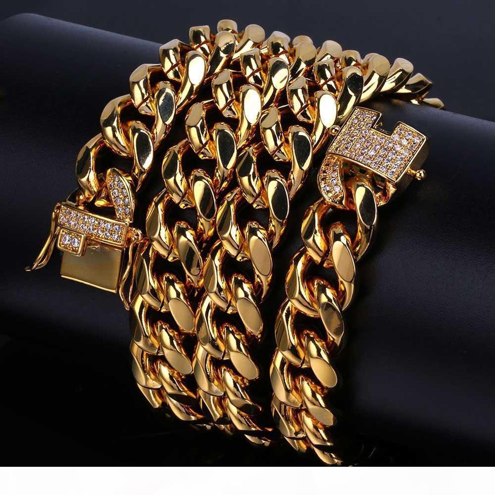 Acciaio inossidabile placcato oro 18K Micro-Studded diamante Chiusura Miami Cuba della collana di collegamento per gli uomini livello lucidato Catene Iced Out