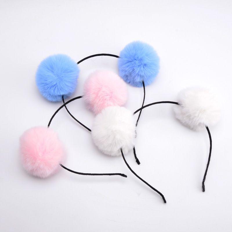 Çocuklar 1pcs için tatlı kızlar Güzel Hairband headpieces Kulaklar Peluş Topu Kıl büyük Kafa Hoop Saç Aksesuarları Tiara