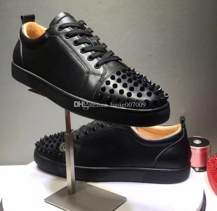 Sapatos de casamento Chegada Nova Spikes Homem Sapatos casuais Mulher Sneaker Moda Rebites Cut Lace Up Partido Low Drop Shipping Tamanho 35-46 Com Box