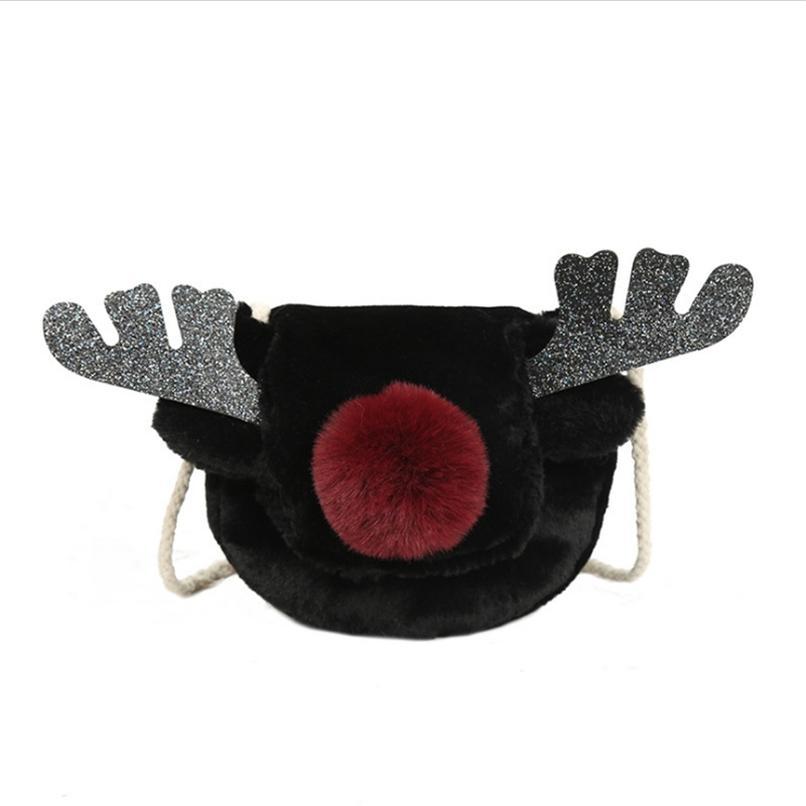 Меховая сумка для меховой сумки Женщины Mini Сумки и кошельки Повседневная плюшевая оленя маленький милый пакет Crossbody Женский квадратный сундук Pouch Vbukj