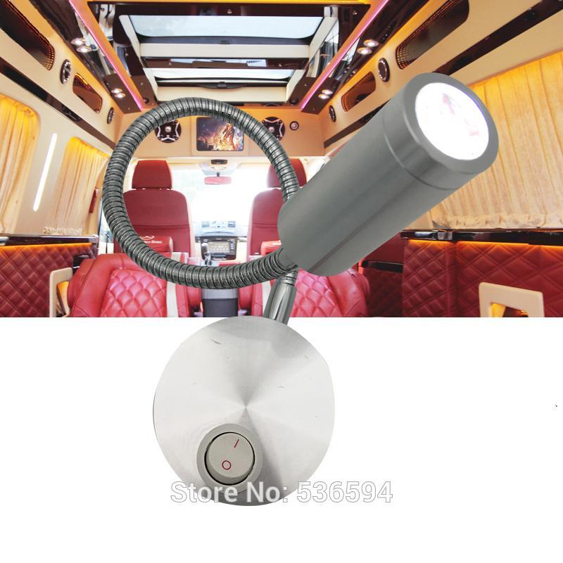 12V della lettura del LED Luce RV Barca Bed letto della parete della tabella della luce della parete lampada da tavolo 1W bianco caldo / freddo a collo di cigno Side