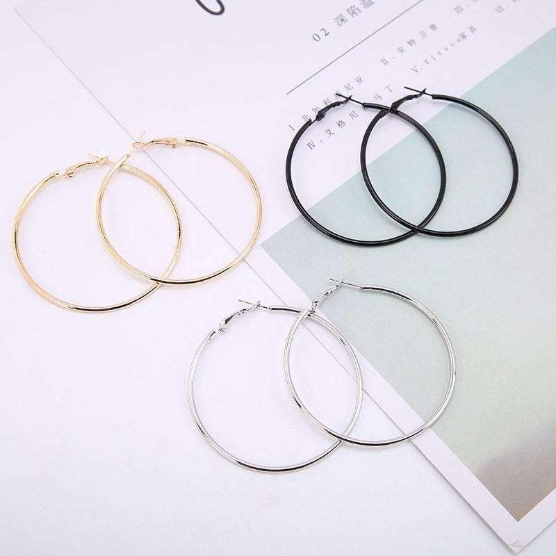 1pair manera de las mujeres de moda de la muchacha grande del aro de los pendientes grandes pendientes Smooth Marca bucle círculo pendientes joyería