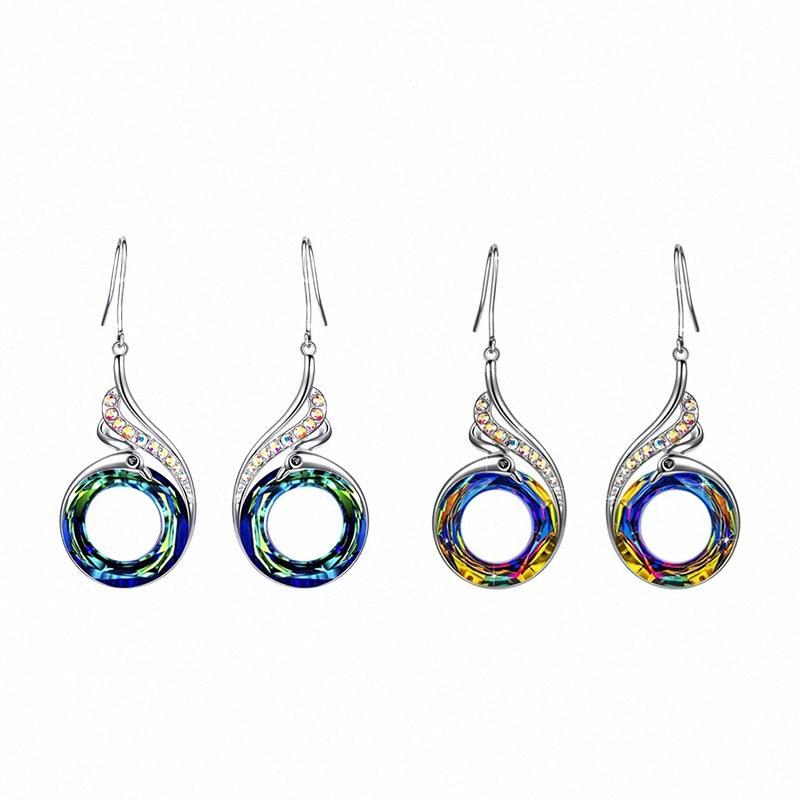 Frauen Kristallschmuck Ein Paar / set Bunte Kristallpfau-Phoenix-Halskette ethnische Art Ohrschmuck W88x #
