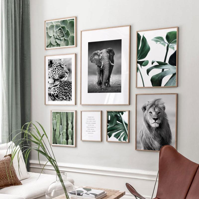 Скандинавские листьев растений Стендовые Животные Холст Картина Черный Белый Wall Art Pictures Для Living Room Modern Home Декоративное Печать