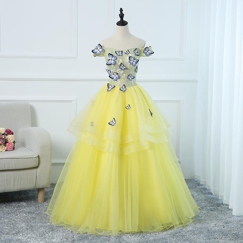 Luxus hell gelb Schmetterling Embodiery Fairy Long Kleid Kleid Opera Bühne Mittelalterliches Kleid Renaissance Cosplay Victoria Antoinette / Belle