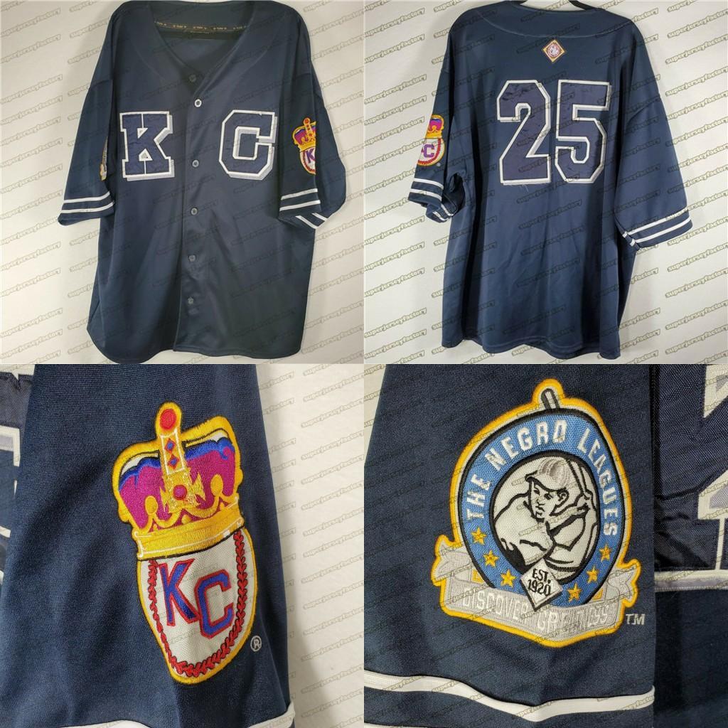 Kansas City Monarchs # 25 Negro Liga Baseball Jersey 100% Costurado Bordado Bordado Vintage Jerseys personalizado Qualquer nome qualquer número