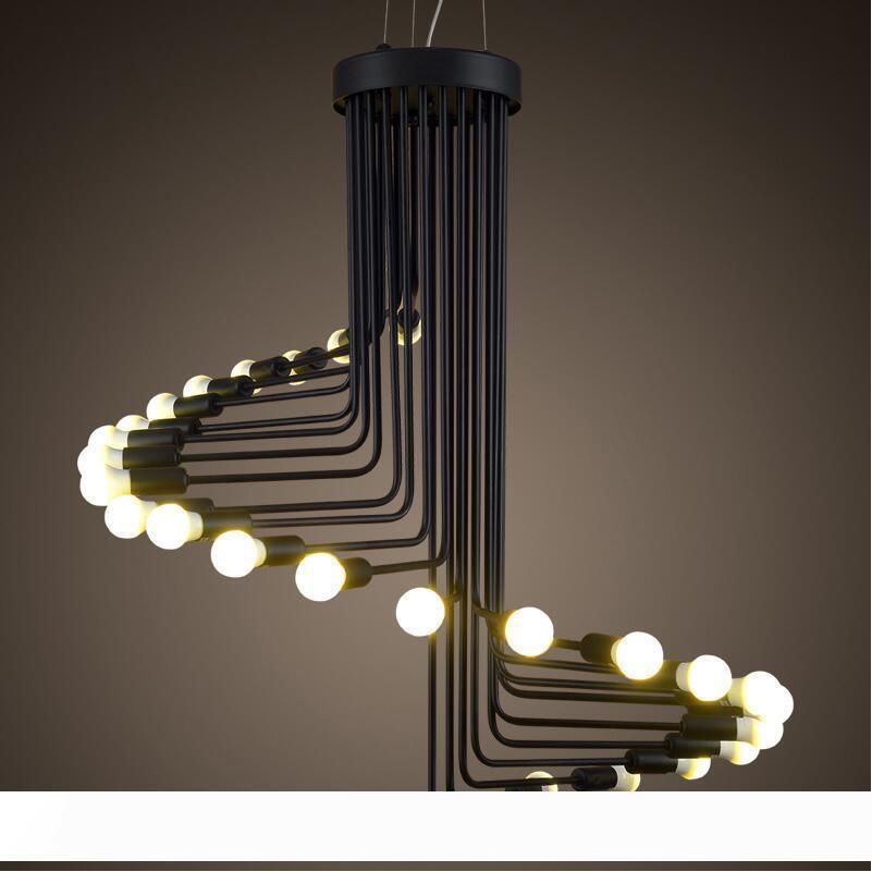 plafond Lustre Vintage Fer Black Wind Spiral Stairs Suspension Rétro hanglamp Salon éclairage lumière pendante Fixture