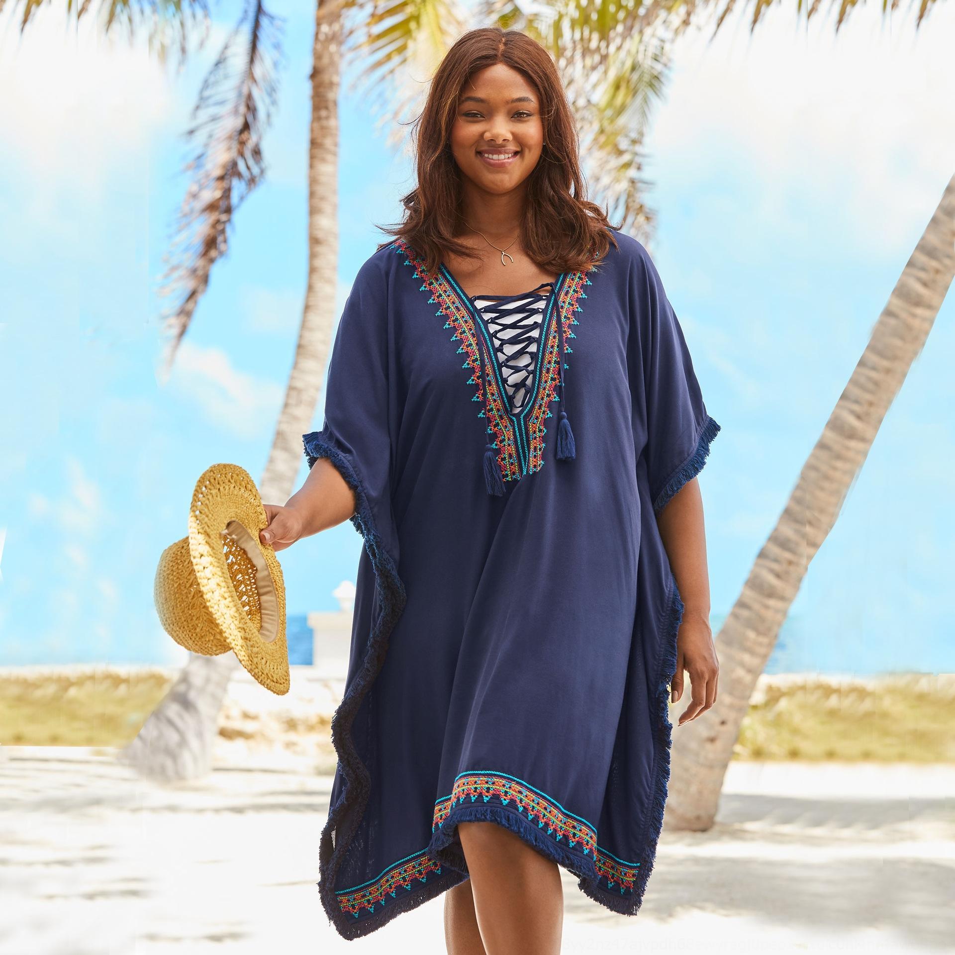 2019 Yeni lacivert suni ipek dressEmbroidered Elbise küçük püskül gevşek Plaj bluz tatil güneş elbise işlemeli