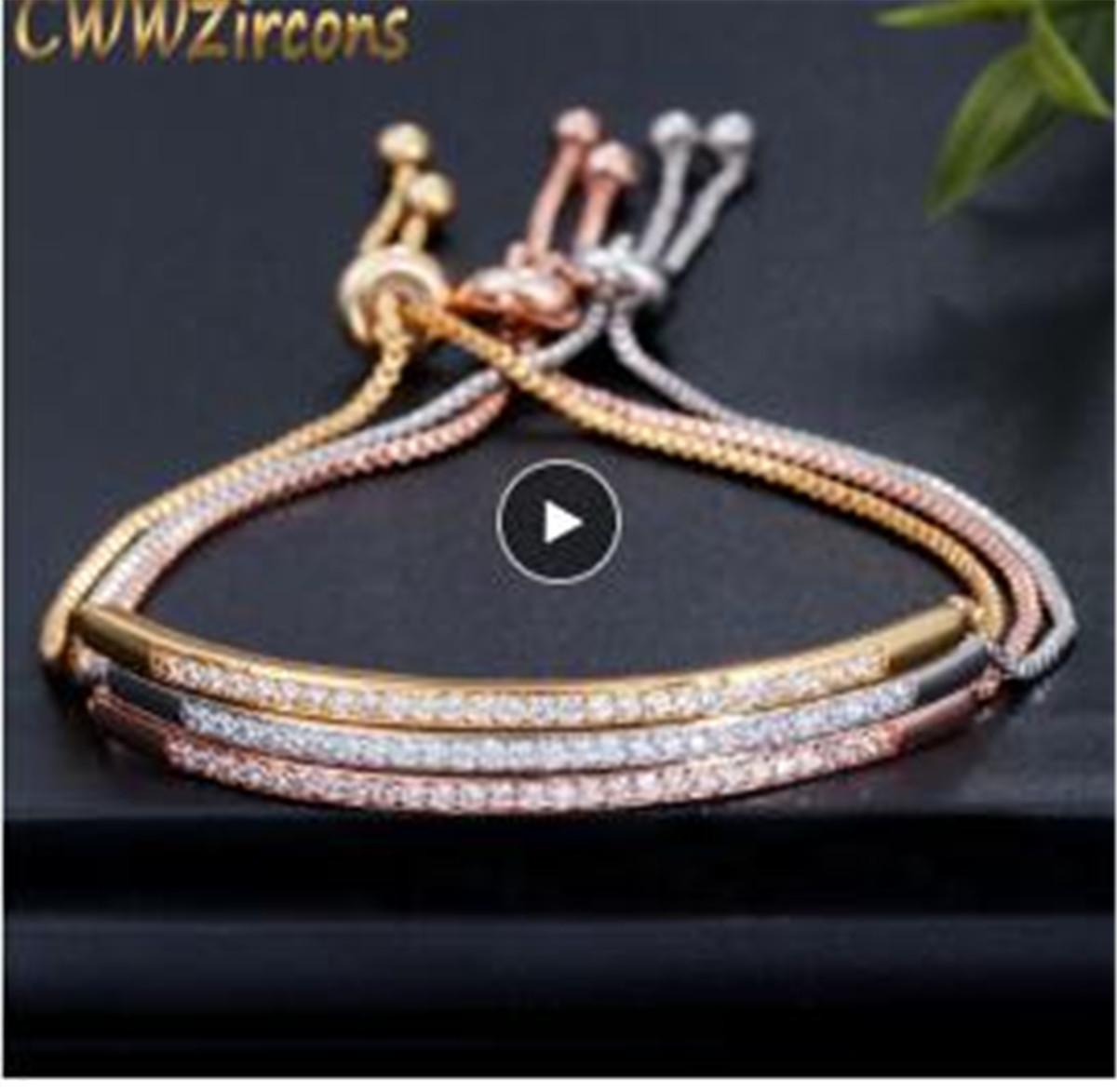 Bracelet réglable pour femmes Bar Curseur brillant Captivate CZ couleur or rose Bijoux Pulseira Feminia CB089