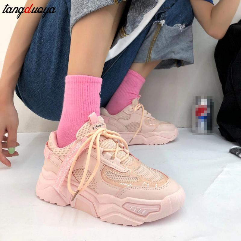 коренастые кроссовки женщины кроссовок 2020 новая дышащие спортивной обувь платформа случайной ходьба леди фитнес-кроссовки