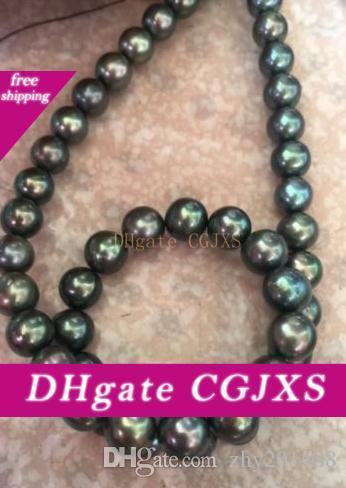 AAA9-10mm круглый таитянского черный зеленый жемчужное ожерелье 18inch 14k