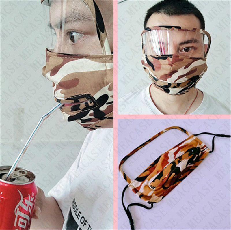 2 In1 camouflage paille Masques visage anti-buée Masques de protection facial trou Zipper visage Bouclier vélo réglable Masque facile à boire D72306