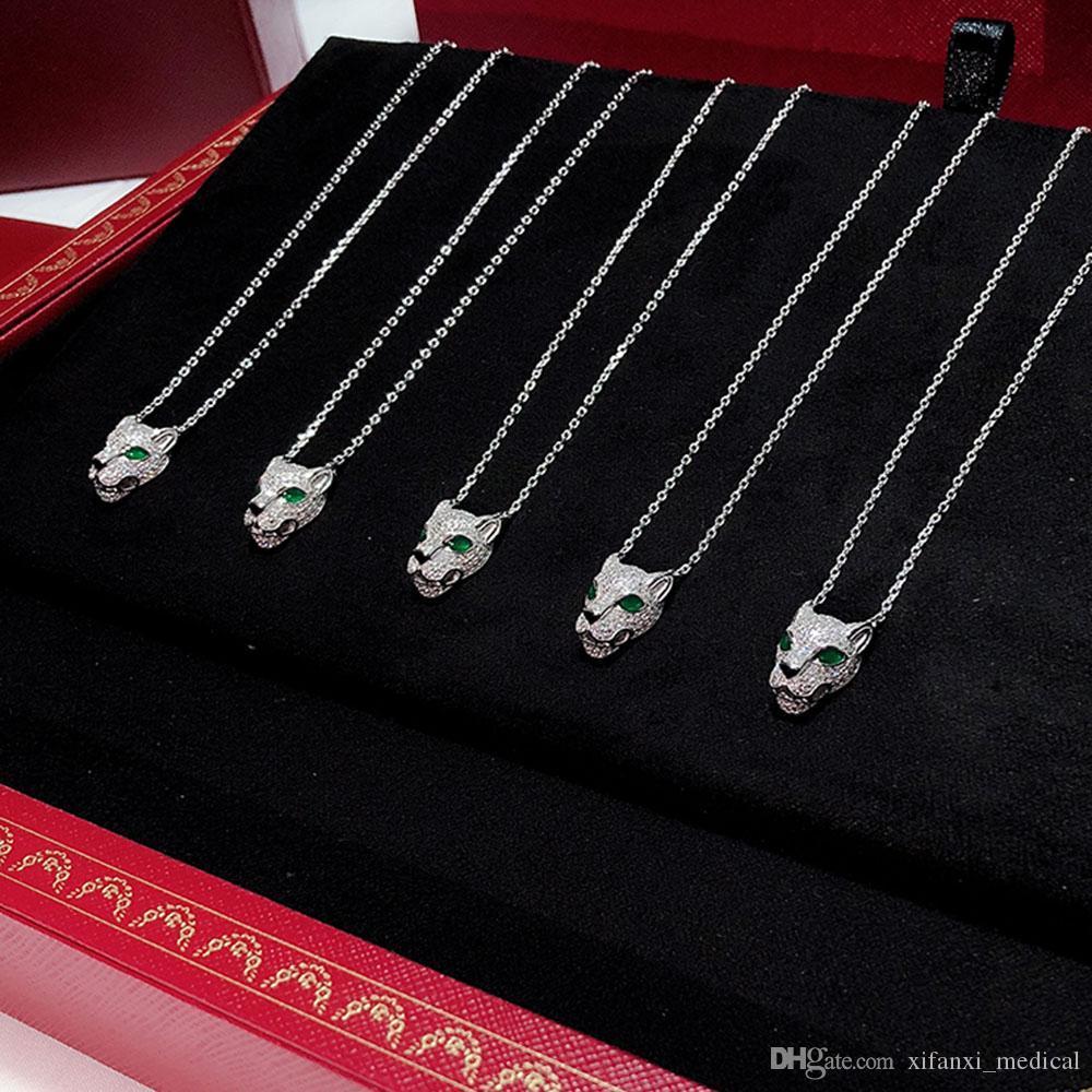 S925 стерлингового серебра горячие бренды Вырезать из леопардовой ожерелье Мощный механический леопард ожерелье Electroplated платинового золота Свободная перевозка груза