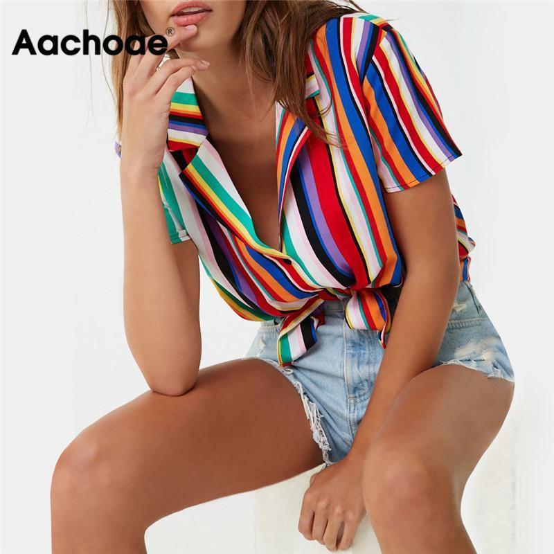 Aachoae Camicetta donne 2020 Estate manica corta camicetta camicia a righe Girare Ufficio giù la camicia parti superiori casuali più il formato Blusas Y200622