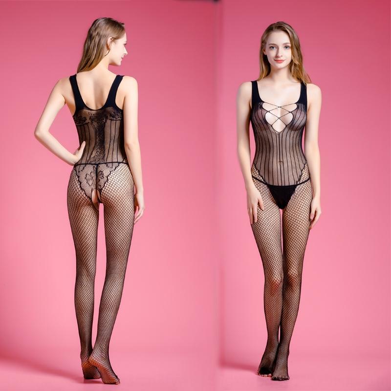 Sexy yelek v3yTL tek parça HoN01 seksi giyim oyuk-out örgü günaha dikey açık menzilli İç Yelek iç çamaşırı tek parça çorap örgü