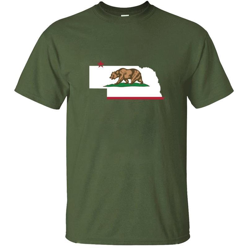 Imprimer Casual Nebraska Californie drôle de drapeau de fierté T-Shirt Lettre Gris Nouveauté 2020 T-shirts manches courtes Top Tee