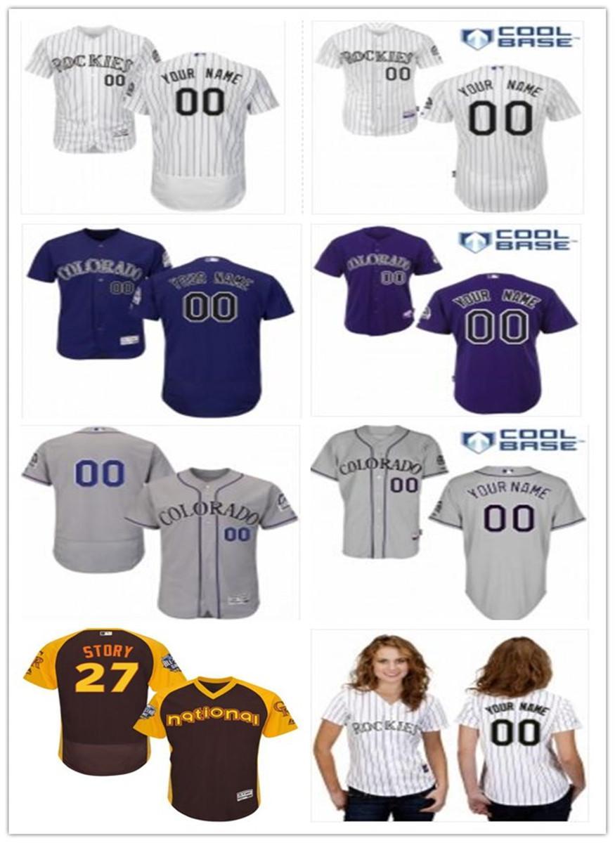 navio livre Baseball Jerseys Colorado Colorado Rockies Rockie Red homens mulheres jovens vermelho melhor personalizado de jérsei de basebol branco qualquer número nome