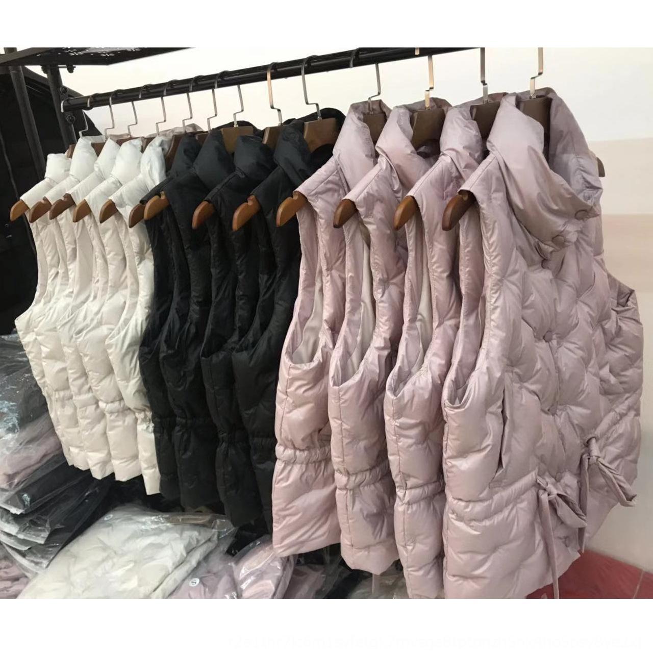 2019 Nuevo collar del soporte de cercanías OL desgaste externo de las mujeres capa bordada por la chaqueta chaqueta abajo chaleco chaleco de ajuste slim