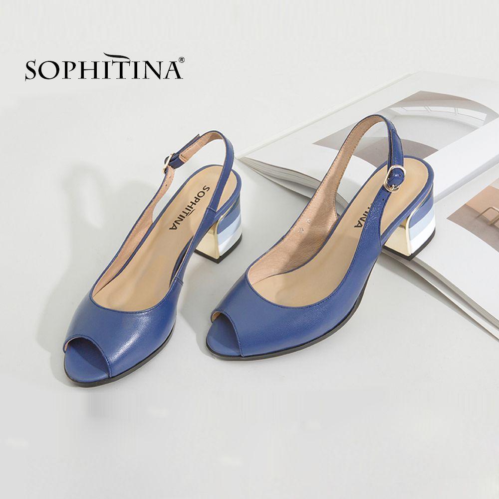 SOPHITINA Handmade Genuine Leather Sexy Lady Peep Toe Sandali tacco quadrato Fibbia Cinturino Classici scarpe da donna S22 CX200715
