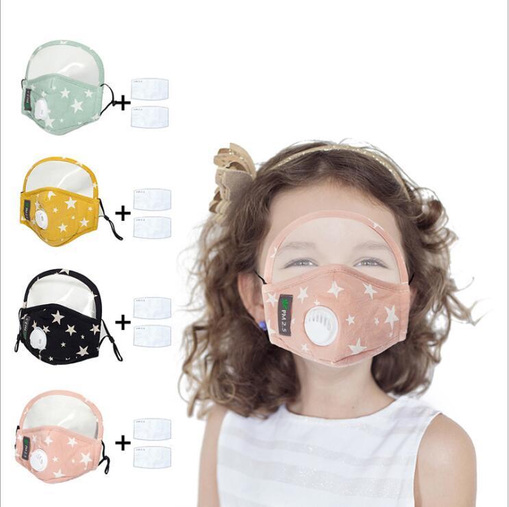 Masque visage de masques enfant avec le bouclier amovible lavable réutilisable clair Masque PM2,5 anti-poussière débarbouillette bouche masque avec filtre 2psc LSK570
