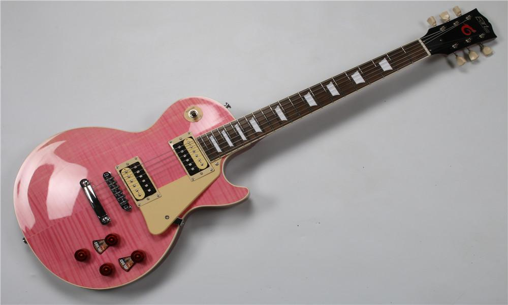 Pink electric guitar six strings tiger stripe maple fretboard,mahoganyneck and body,white pearl pickguard,chrome hardware